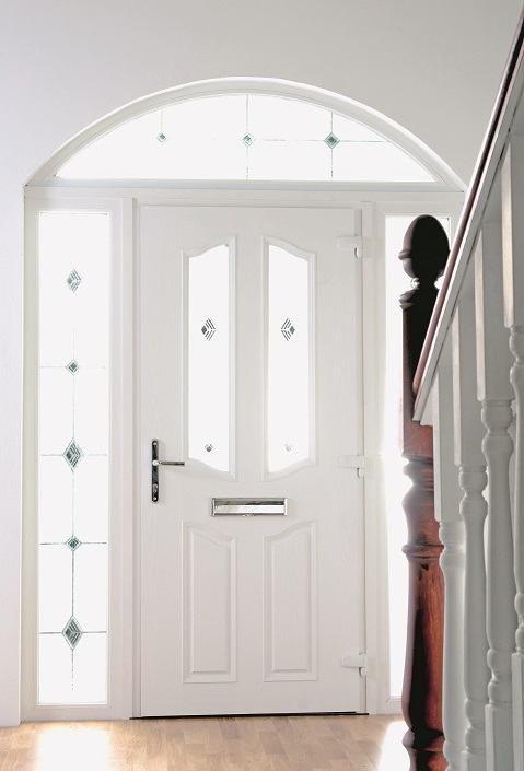 White Composite Door with Arched Frame