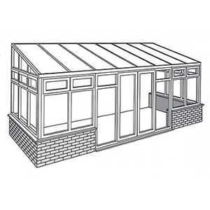 Lean-To Conservatory Line Drawing