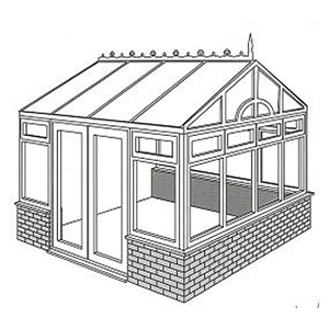 Gable Fronted Conservatory Line Drawing