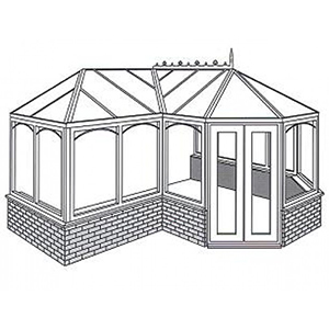 P-Shape Conservatory Line Drawing